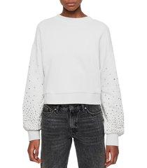 women's allsaints star stud crop sweatshirt