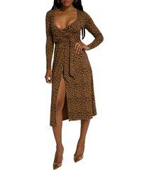 women's good american daynight long sleeve midi wrap dress, size 0 - brown