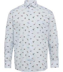 striped animal print shirt skjorta casual blå eton