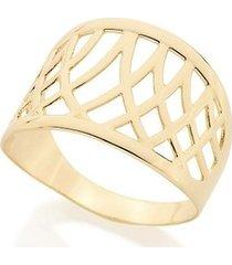 anel rommanel com detalhes de filetes entrelaçados feminino