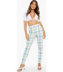 geruite skinny fit broek met zakken, light blue