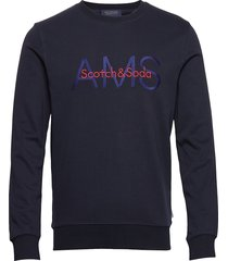 crewneck sweat with logo artwork sweat-shirt trui blauw scotch & soda