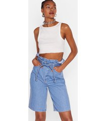 womens high-waisted belted denim shorts in vintage blue