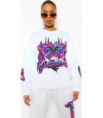 oversized graffiti sweater, white