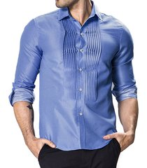 camicia da uomo dot draped court stytle manica lunga slim fit per uomo