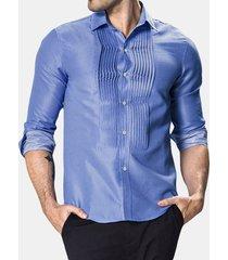 manica lunga a punto drappeggiato stytle sottile fit designer camicia da uomo