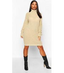 petite roll neck sweater dress, mushroom