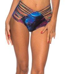 calcinha hot pants strappy lua morena jellyfish - azul/multicolorido - feminino - dafiti