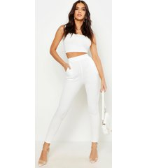 basic crêpe skinny fit stretch broek, ivoor