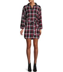 plaid-print cotton shirt dress