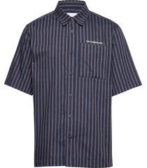 boxy shirt overhemd met korte mouwen blauw han kjøbenhavn