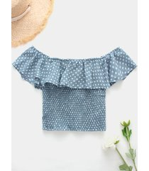 blue pleated design polka dot off the shoulder crop top