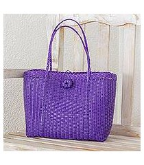recycled plastic tote, 'undeniable beauty in purple' (guatemala)