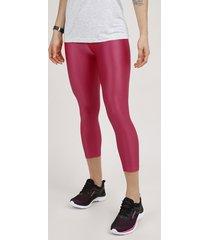 calça corsário feminina esportiva ace texturizada rosa escuro