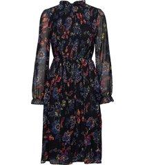dress woven fabric, polyester knälång klänning blå taifun