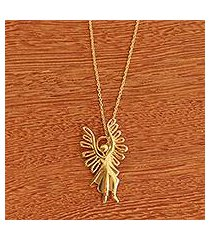 gold plated pendant necklace, 'michael archangel' (brazil)