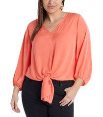 plus size long sleeve tie front v-neck blouse