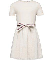 combi dress s/s jurk crème tommy hilfiger