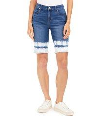 style & co frayed-hem dyed bermuda shorts, created for macy's