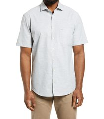 brax hardy modern fit dot short sleeve button-up cotton & linen shirt, size small in green at nordstrom