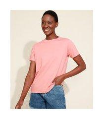 t-shirt feminina mindset básica manga curta decote redondo coral