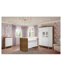 dormitório guarda roupa ariel 4 portas cômoda berço gabi amadeirado carolina baby branco