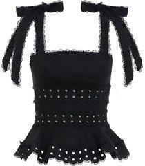 kirra tie shoulder cropped top in noir