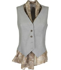 brunello cucinelli comfort linen and cotton drill vest with exotic silk pongee insert vest