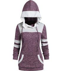 two tone drawstring heather hoodie