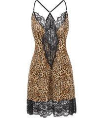 plus size lace panel leopard tunic babydoll