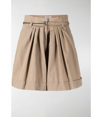 brunello cucinelli pleated flared shorts
