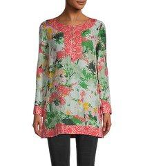 silk-blend combo tunic top