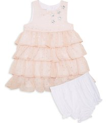 baby girl's embellished star tiered chiffon dress