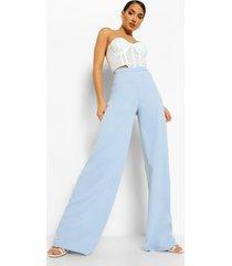 crêpe wide leg broek met v-taille, light blue