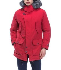 nautica mens faux-fur quilted parka nautica red l