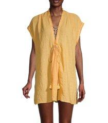 robin piccone women's michelle tunic cover-up - marigold - size s