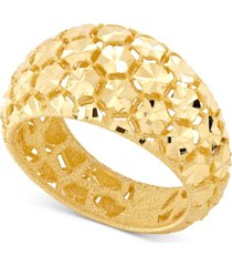 effy oro by effy bead-design wide-band statement ring in 14k gold