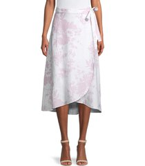 saks fifth avenue women's floral-print wrap skirt - white - size l