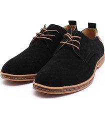 zapatos mocasines oxfords suede casual hombre -negro