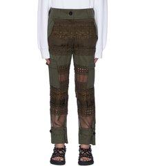 graphic mesh panel cargo pants