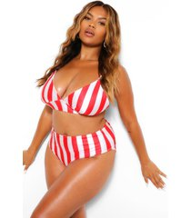 plus stripe triangle high waist bikini, red