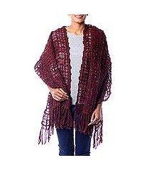 textured shawl, 'gossamer wine' (india)