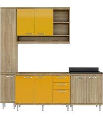 cozinha compacta completa multimã³veis com 4 peã§as sicãlia 5812 argila/amarelo - bege/incolor - dafiti