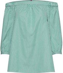 bardot top 3-4 blouse lange mouwen groen tommy hilfiger