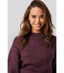 na-kd balloon sleeve oversized knitted sweater - red