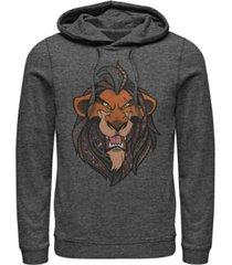 disney men's lion king scar geometric pattern fill portrait, pullover hoodie