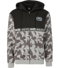 ecko unltd men's spray camo printed full zip hoodie
