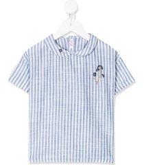 il gufo round-collar striped shirt - white