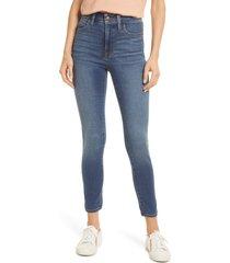women's madewell curvy roadtripper high waist supersoft jeans, size 31 - blue