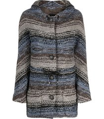 chanel pre-owned 2010 horizontal striped woven jacket - grey